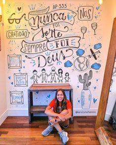 Chalkboard Wall Bedroom, Chalkboard Art, Chalk Lettering, Graffiti Lettering, Cafe Interior Vintage, Cafe Wall, Lettering Tutorial, Letter Wall, Decoration
