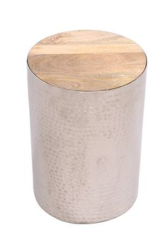 Silver Hammered Metal Accent Table COOKIE with Fitted Hardwood Top