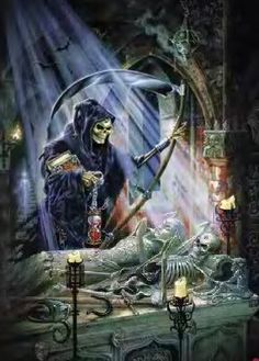 Fantasy Photo: This Photo was uploaded by Find other Fantasy pictures and photos or upload your own with Photobucket free image and video h. The Reaper, Death Reaper, Grim Reaper Art, Dark Fantasy Art, Fantasy Kunst, Gothic Wallpaper, Skull Wallpaper, Ghost Rider Marvel, Alchemy Art