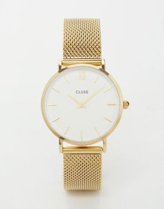 Cluse | Cluse Minuit Gold Mesh Watch CL30010 at ASOS: $144