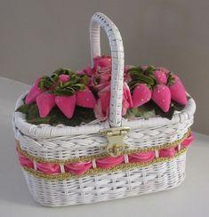 VTG Wicker Basket Purse Velvet PINK Strawberries Spring Easter Mother's Day #Handmade #Baguette