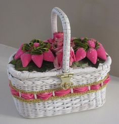Vintage Wicker Basket Purse Velvet PINK Strawberries Fruit Salad Spring Easter Mother's Day #LillyPulitzer Style (also available at www.lechicdame.com)