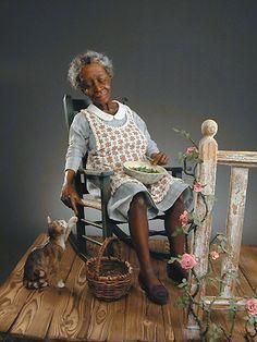 Evening Play by Creager Studio - Jodi Richard Creager African American Figurines, African American Art, African Art, Dollhouse Dolls, Miniature Dolls, Dollhouse Miniatures, Ooak Dolls, Art Dolls, Black Figurines