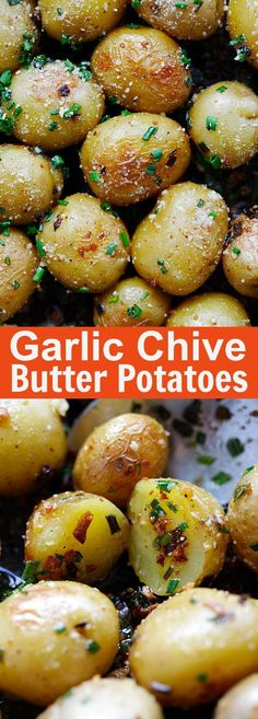 The Rise Of Private Label Brands In The Retail Meals Current Market Garlic Chive Butter Roasted Potatoes - Roasted Baby Potatoes With Garlic, Chives, Butter And Parmesan Cheese. The Only Roasted Potatoes Recipe You'll Need Side Dish Recipes, Veggie Recipes, Cooking Recipes, Healthy Recipes, Baby Potato Recipes, Healthy Food, Recipes With Chives, Easy Recipes, Shrimp Recipes