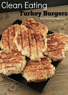 These turkey burgers are a great addition to your clean eating menus. They're moist, juicy, and flavorful. All of the flavor, none of the bad stuff! Clean Eating Turkey Burgers Serves: 6 Thes… Ground Turkey Burgers, Healthy Ground Turkey, Ground Turkey Recipes, Clean Eating Menu, Clean Eating Recipes, Clean Foods, Healthy Diet Recipes, Healthy Cooking, Healthy Eating
