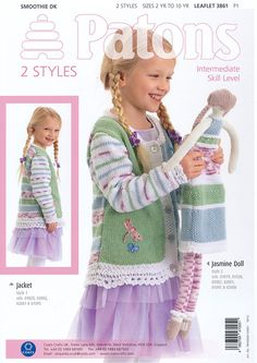 NOT A COPY Patons Lace Trim Jacket /& Doll Pattern 3861 DK