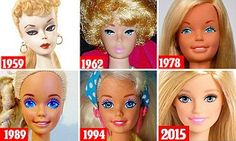When the Mattel doll launched in 1959, she was pale with heavy-lidded eyes and a curly cropped fringe but as the years have passed she has undergone a dramatic makeover.