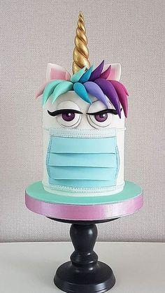 Funny Birthday Cakes, Funny Cake, Unicorn Party, Unicorn Birthday, Unicorn Cakes, 8th Birthday, Beautiful Cakes, Amazing Cakes, Fondant Cakes