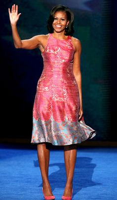 Michelle Obama wearing a custom made Tracy Reese dress and J. Crew shoes