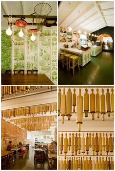 A collection of vintage rolling pins hanging in the Pizza Farro restaurant, in Thornbury. (Interior design by Yvette Romanin Lotito; Photos by Sonia Mangiapane.)  ... Not convinced it would be a good idea to hang these in someone's kitchen.