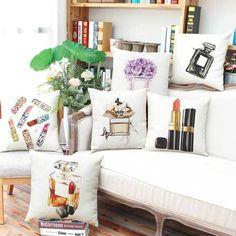 Cushions Perfume Lipstick Print Square Pillow Case Sofa Home Decor Waist Cushion Cover Ew & Garden Light Blue Throw Pillows, Decorative Throw Pillows, Cheap Pillows, Warm Home Decor, Linen Sofa, Sofa Home, Printed Cushions, Throw Pillow Cases, Cushion Pillow