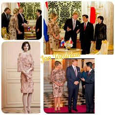 Fashion Queen Maxima day 2 of the state visited in Japan Queen Maxima in the evening in Tokyo dinner with the prime-minister The Queen is wearing a dress with lace from Jan Taminiau (If there is a better photo I post it)
