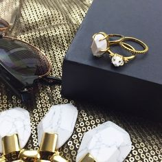 Howlite Marble Ring Set Size 6, comes with 3 rings (two with howlite stones and one thin pavé band). NWOT, comes in jewelry pouch. 11271501 Ann Taylor Jewelry Rings