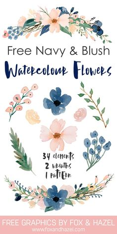 Free Navy & Blush Watercolor Flower Graphics