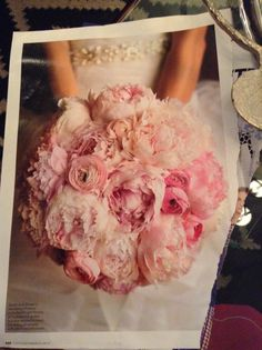 Perfect wedding bouquet pink peonies