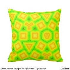 Green pattern with yellow square and triangle throw pillow