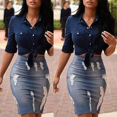 Details about Women's Stretch Bodycon Pencil Skirt Knee-Length Skirt High Waisted Denim Skirts - outerwear - - Jean Pencil Skirt, Pencil Skirt Casual, Pencil Skirt Outfits, Casual Skirt Outfits, Pencil Skirts, Pencil Dress, Mini Skirts, Clubbing Outfits, Athleisure