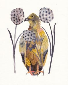 Print: Egyptian Vulture and Dandelions
