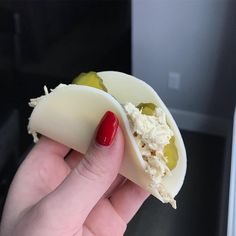 """my favorite lunch ever! Chicken salad """"taco"""" with provolone cheese Seriously my favorite lunch ever! Chicken salad """"taco"""" with provolone cheese. -Seriously my favorite lunch ever! Chicken salad """"taco"""" with provolone cheese. Lunch Snacks, Keto Snacks, Clean Eating Snacks, Healthy Snacks, Healthy Eating, Lunches, Low Carb Lunch, Low Carb Diet, Low Carb Recipes"""