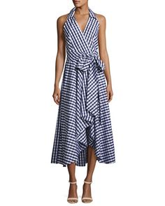 Brooklyn+Sleeveless+Gingham+Shirting+Wrap+Dress,+Navy+by+Milly+at+Neiman+Marcus.