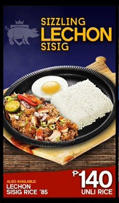 Sizzling Sisig Lechon crispiest sisig serves in a sizzling plate with lechon sauce, pure lechon and will convert it to SISIG LECHON for only P140.00 #HariNgSisig