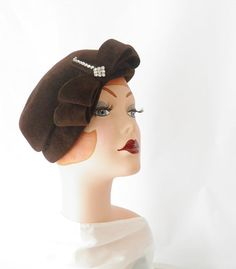 1940s brown tilt hat/ double bow with by TheVintageHatShop on Etsy
