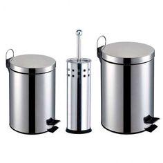Kit Banheiro 3 Peças: Lixeiras em Aço Inox com capacidade para 3 e 5L + Escova Sanitária com Cerdas Flexíveis e Suporte em Aço Inox - Travel max