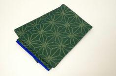 Japanese SILK RO FUKURO OBI Green & Blue Sashiko,Asanoha Pattern Reversible