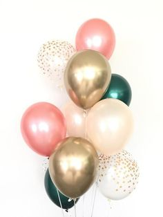 Rose gold and green balloon bouquet rose gold balloons etsy rose gold wedding band set half round and rings eco friendly jewelry sea babe jewelry this set is priced for 2 rings and includes Bridal Shower Balloons, Gold Bridal Showers, Birthday Balloon Decorations, Birthday Balloons, Decoration Party, Balloons Tumblr, Vintage Bouquet, Rose Gold Balloons, Peach And Green