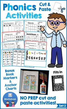 Over 82 activities and 18 resources! 5 FREE pages in PREVIEW! The NO PREP Phonics Cut and Paste Activities Set 2 pages are a FUN, hands-on approach to practicing Initial Sounds, Short Vowels, Blends, Long Vowels, Digraphs, Soft C, Soft G, Word Reading, Making Words, Writing Words, Sight Words, and Sentence Reading. RESOURCES: Anchor Charts and Bookmarks! Pages fit inside a journal. All 82 pages are in black and white! Just PRINT and GO!