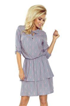 b0b5f82ef21 Dámské šaty TINA s 3 4 rukávem a dvojitou sukní vzorované šedé