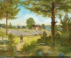 Sigfrid August Keinänen,  Hämäläinen maalaisidylli - rural idyll - 1800 - Finland, Finnish cows