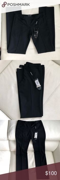 "NWT Emporio Armani Black Wool Pants Authentic Emporio Armani black wool pants. Low rise/straight cut    Brand new with tags. Retails for $295 plus taxes. Pics shows certificate  Two front slit pockets One slit back pocket Low rise, straight cut  Size 4 Inseam: approx. 33.5"" Leg opening: 8"" Front rise: approx. 9"" 83% wool 14% polyamide 3% spandex  - therefore has some stretch in it Dress it up or down. Perfect for office or a casual look. Timeless staple classic piece! Emporio Armani Pants…"