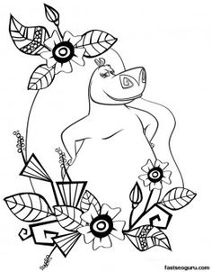 printable madagascar 3 gloria surrounded by flowers coloring page printable coloring pages for kids