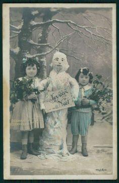 Child Girl Friend Snowman Christmas original vintage old 1910s Photo postcard