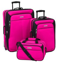 Travel to your destination in style with this Leisure Voyager luggage set. Cute Luggage, Best Carry On Luggage, Luggage Sets, Pink Luggage, Luggage Backpack, Travel Luggage, Travel Bags, Gothic, Travel Bag Essentials