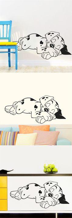 Lovely Sweet Dream Dalmatian Dogs Wall Stickers Pet Puppy Vinyl Wall Decal Mural Poster Children Nursery Kids Bedroom Decor