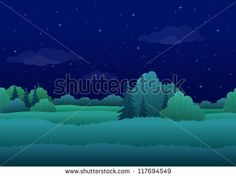Seamless background, cartoon summer night landscape: forest and sky with stars. Vector