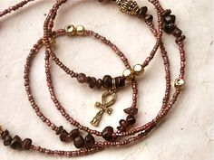 Garnet Ankh Waistbeads by WrapandSoul on Etsy, $25.00
