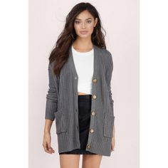 Tobi Arrowhead Oversized Cardigan ($88) ❤ liked on Polyvore featuring tops, cardigans, grey, oversized tops, gray cable knit cardigan, grey cardigan, over sized cardigan and oversized cardigan