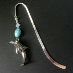 Dolphin Book Charm, Beaded Bookmark, Ceramic, Blue. Dancing Dolphin