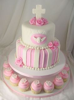 Baptism Cake and Cupcake Tower Fondant Cakes, Cupcake Cakes, Cupcake Rosa, Rosa Cupcakes, Confirmation Cakes, First Communion Cakes, Occasion Cakes, Girl Cakes, Cute Cakes