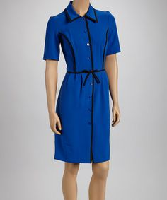 Take a look at this Sapphire & Black Button-Up Dress by Shelby & Palmer on #zulily today! $24 !!