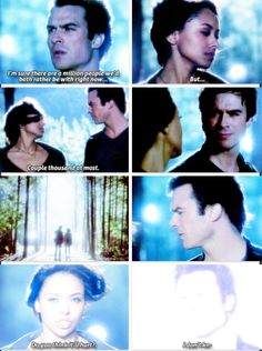 The vampire diaries *sobs some more* Sorta like in the books when Damon is human and goes back to the Dark Dimension and accidentally takes Bonnie with him... Sorta.