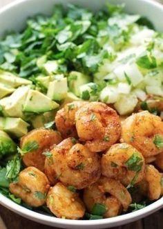 Asian- Shrimp and Avocado Salad with Miso Dressing