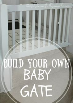 Simply Beautiful by Angela: DIY Baby Gate. Use wood for outdoor-friendly gate. Diy Baby Gate, Baby Gates, Dog Gates, Diy Projects Plans, Home Projects, Pet Gate, Babies R, Decks And Porches, Diy Molding