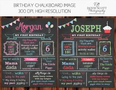 First Birthday Chalkboard Poster First by DovieScottPhoto, $12.49
