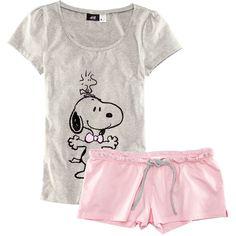 H&M Pyjamas (€16) ❤ liked on Polyvore featuring intimates, sleepwear, pajamas, tops, light pink and short sleeve pajamas