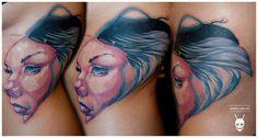 Girl portrait tatoo detail custom tattoo by Balázs Vadócz at Creation by Vadócz Tattooshop