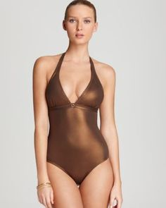 Now this is shining the RIGHT way: OndadeMar Swimsuit - Metallic One Piece  backless at Bloomingdale's